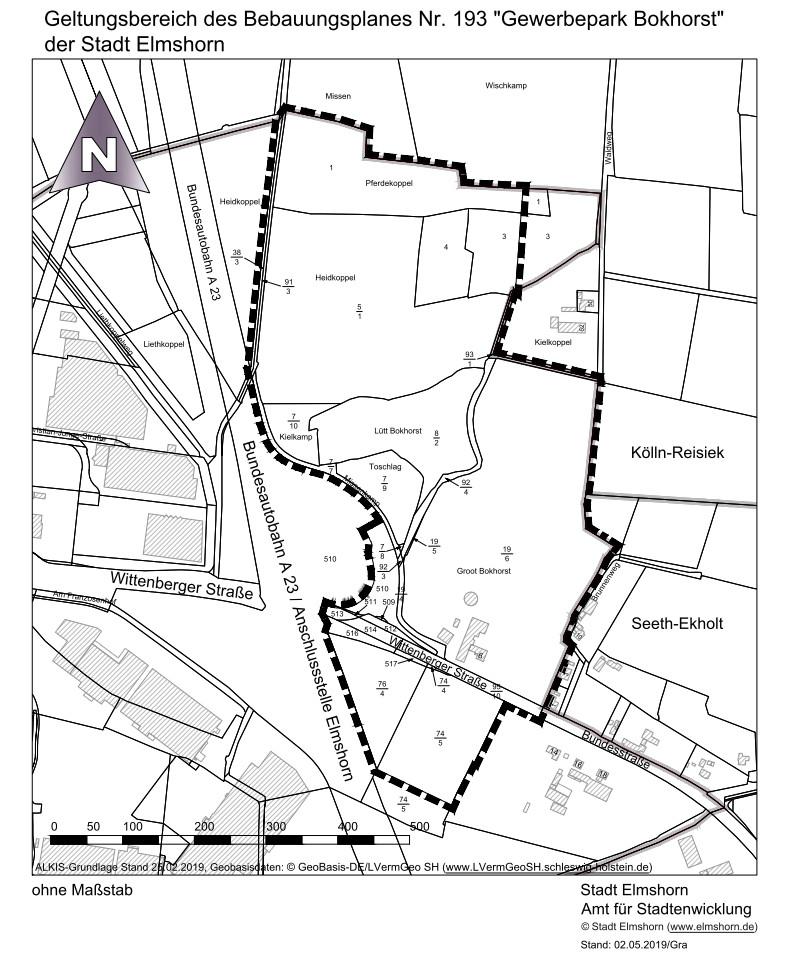 Geltungsbereich Aufstellung des Bebauungsplanes Nr. 193 »Gewerbepark Bokhorst« der Stadt Elmshorn Vorschaubild