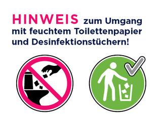 Entsorgung Hygienetücher / Desinfektionstücher / feuchtes Toilettenpapier